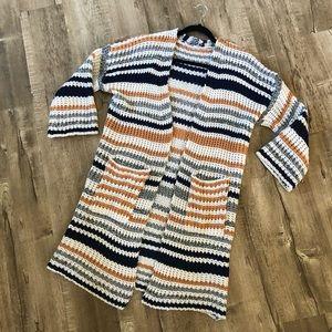 Shein stripe Long Cardigan White Blue Gray Mustard